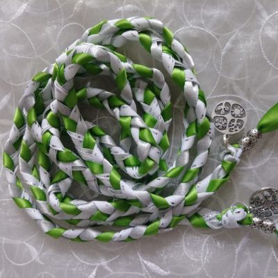 Bright green and silver/white ribbons used with a four seasons charm and silver tone beads
