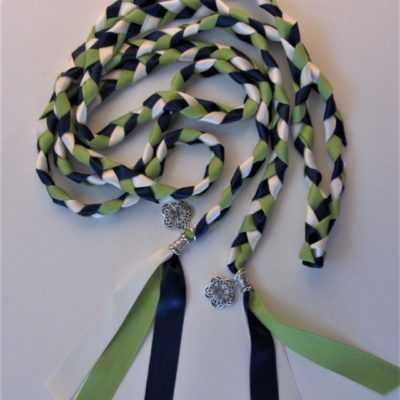 Green, navy and Ivory ribbons used and filigree flower charms and silver tone beads